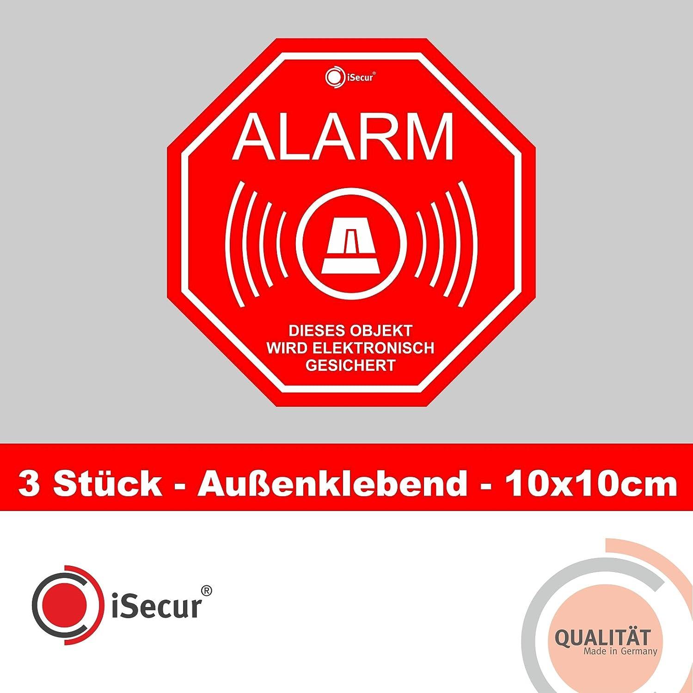 3 Stück Aufkleber Alarm, iSecur®, alarmgesichert, 100x100mm, Art. hin_165_außen, Hinweis auf Alarmanlage, außenklebend für Fensterscheiben, Haus, Auto, LKW, Baumaschinen