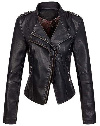 340249840e33 chouyatou Women's Candy Color Asymmetric Zip Slim Faux Leather Cropped Moto  Jacket (X-Small