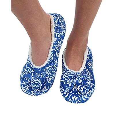 Snoozies Womens Touch Me Ballerina Slippers with Comfort Fit Split Sole Blue Scultpure Small 5/6 | Slippers