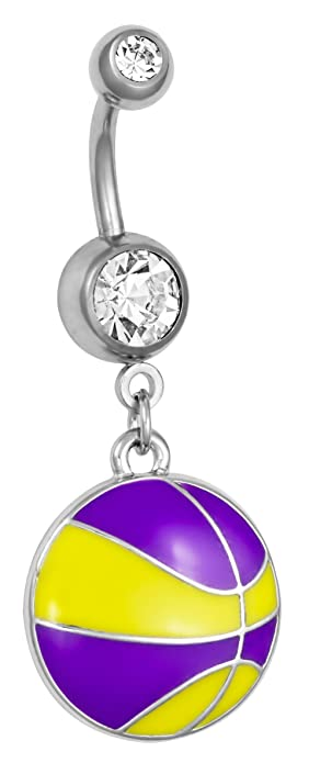 Amazon Com Surgical Steel Yellow Purple Basketball Double Jeweled