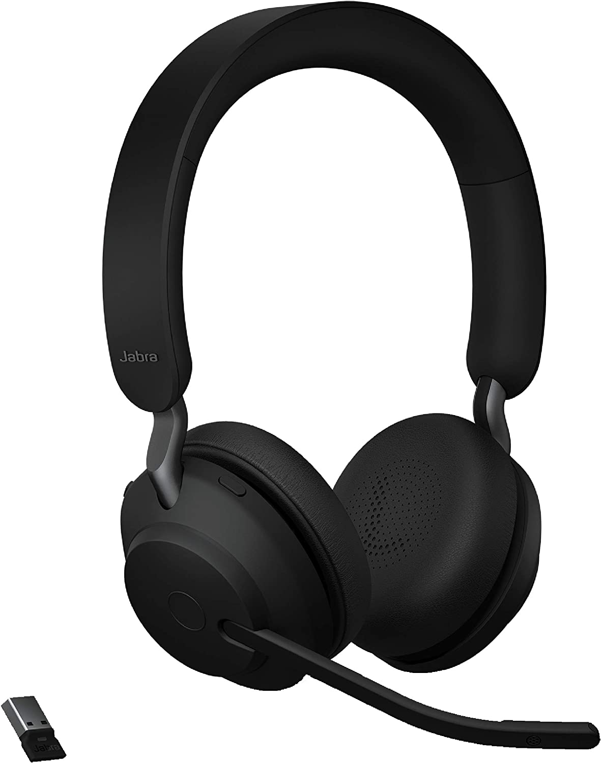 Amazon Com Jabra Evolve2 65 Uc Wireless Headphones With Link380a Stereo Black Wireless Bluetooth Headset For Calls And Music 37 Hours Of Battery Life Passive Noise Cancelling Headphones