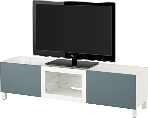 Zigzag Trading Ltd IKEA BESTA - Mueble TV con Puertas Blanco/Vidrio Transparente valviken Gris-Turquesa: Amazon.es: Hogar