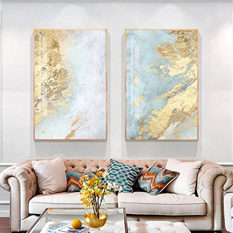 Amazon Com Nordic White Light Blue Canvas Painting Abstract Wall Art Pictures For Living Room Big Cuadros Tableaux Big Gold Poster And Prints 50x70cmx2 No Frame Posters Prints