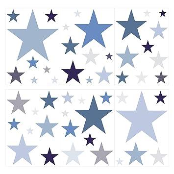 dekodino Wandtattoo Kinderzimmer Wandsticker Set Sterne in Einem ...