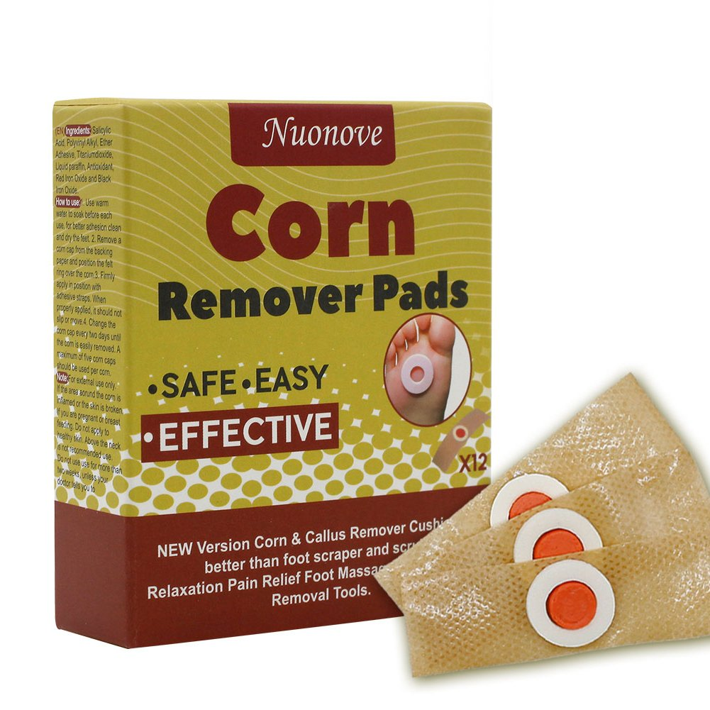 Corn Remover, Foot Corn Remover Pads, Corn & Callus Remover Cushions, Corn Plaster with Hole, It is a Better Solution for People Who Suffer The Pain of Corn, 12 Medicated Pads Nuonove