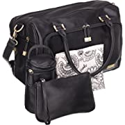 Isoki Baby Diaper Bag with 13 Pockets| Large Black Tote for your Boy and Girl | Organizer Bags for Travel | Gift Set includes Changing Mat, Purse and Bottle Pack