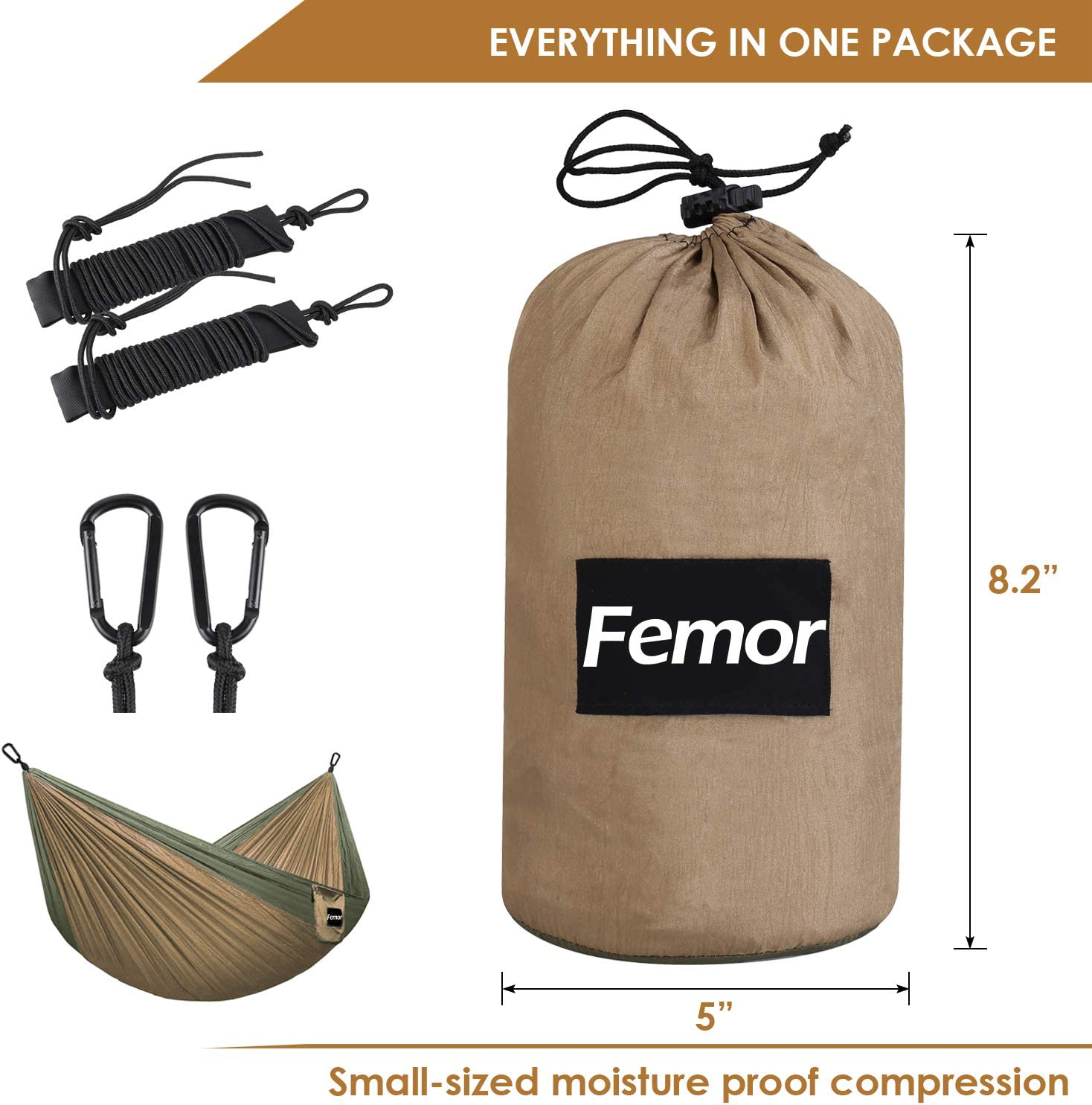Support 441lbs for Yard Backpacking Hiking Portable Lightweight Nylon Parachute Hammok with Tree Ropes and Carabiners femor Outflitters Double Hammock Camping Travel Double Hammock Swing Support 441lbs for Ourdoor Backpacking Hiking