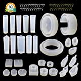 30Pcs Resin Jewelry Molds - LET'S RESIN Silicone Molds for Epoxy Resin, UV Resin, Including Various Shape Pendant Molds, Bangle Molds, Ring Molds, and 50Pcs Screw Eye Pins
