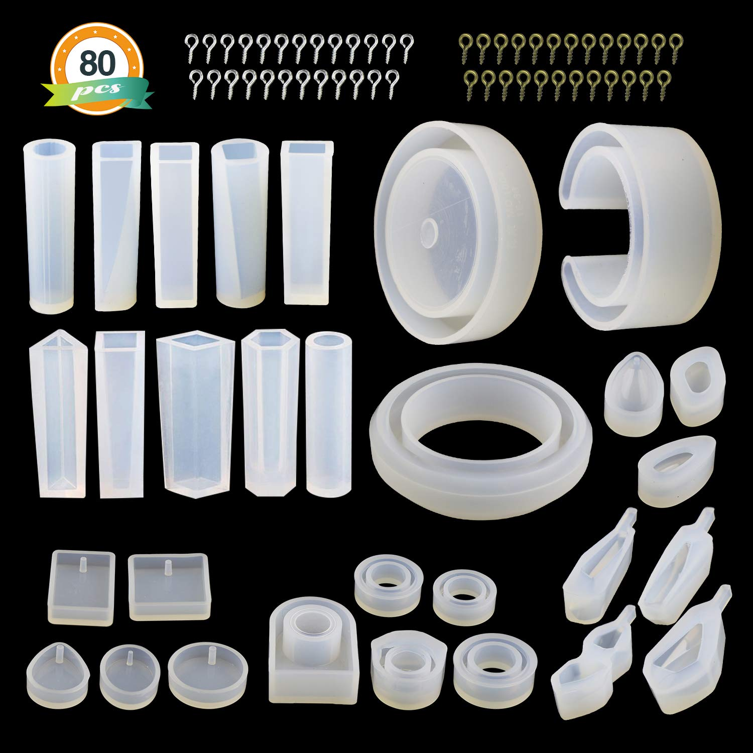 LET'S RESIN Resin Jewelry Molds,30pcs Silicone Jewelry Molds, Epoxy UV Resin Molds Including Resin Bangle Molds, Pendant Molds, Ring Molds, and 50pcs Screw Eye Pins 713lujLLUnL