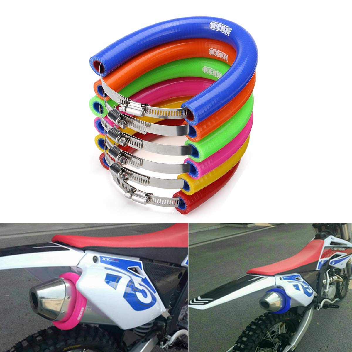 Wooya Universal Motorcycle Exhaust Muffler Protector Can Cover Guard For Ktm Exc Sxf 250-525-Blue