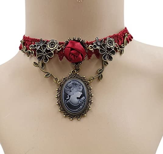 Vintage Style Jewelry, Retro Jewelry Eternity J. Vintage Rhinestone Rose Lace Gothic Choker Victorian Wedding Bridal Necklace Bracelet $9.99 AT vintagedancer.com