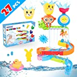 Baby Bath Toys 27 pcs Bathtub Bath Toys for Toddlers 3-4 Years Old DIY Waterfall Track Bath Toys for Kids Ages 4-8, Waterfall