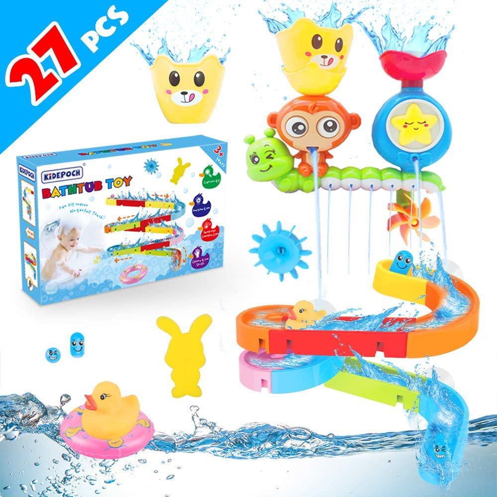Baby Bath Toys 27 pcs Bathtub Bath Toys for Toddlers 3-4 Years Old DIY Waterfall Track Bath Toys for Kids Ages 4-8, Waterfall Station Educational Bath Toys for Boys & Girls