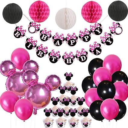 Amazon.com: Minnie Mouse - Juego de decoración de fiesta con ...