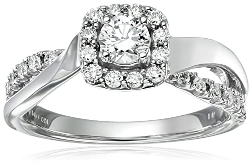IGI Certified 14k Gold and Diamond Halo Engagement Ring (3/4 cttw, H-I Color, I1-I2 Clarity)