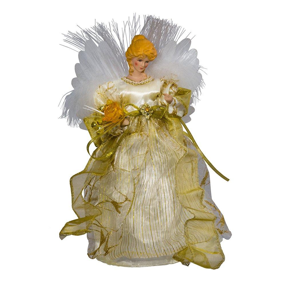 12-Inch Kurt Adler CUL Fiber Optic LED Angel Christmas Treetop Figurine Ivory and Gold