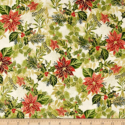 Fabri-Quilt Holiday Editions Holly, Pine and Poinsettias Metallic Ivory/Multi Fabric by The Yard - Holidays Cotton Quilt Fabric