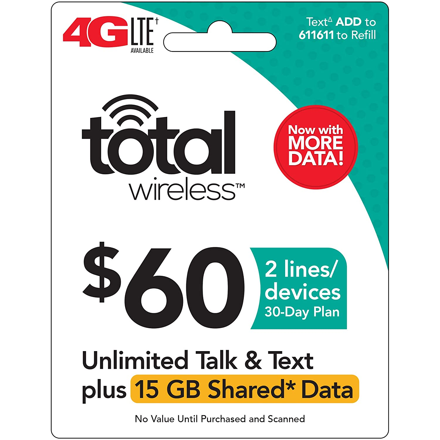 Total Wireless - $60 Prepaid Refill Card