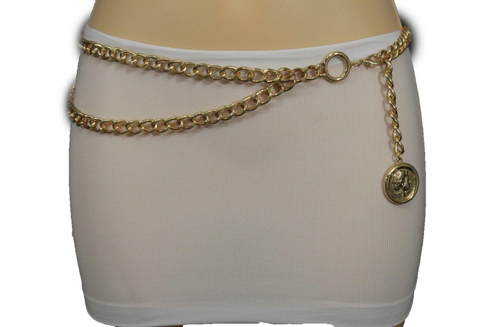 TFJ Women Fashion Belt Metal Chains Hip Waist Greek Coin Charm Gold XS S M