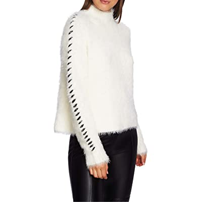 1.STATE Whipstitched-Sleeve Eyelash Sweater Antique White at Women's Clothing store
