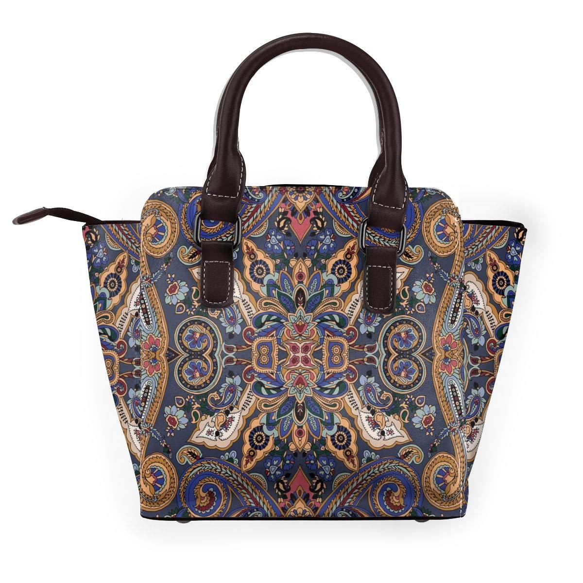 Timber Wolf dam exklusivt mode utsökt elegant äkta läder nit axelväska Moroccan Florets Slavic Effects