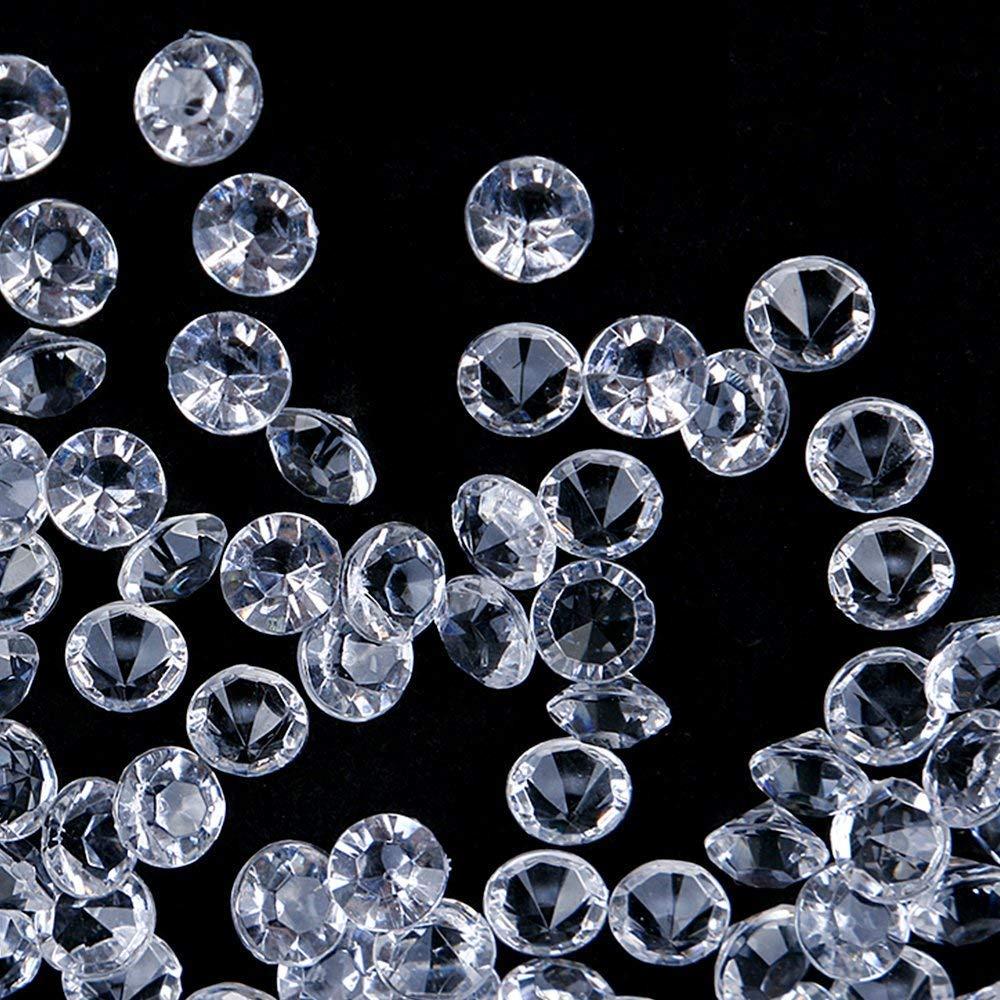 HAKACC Deko Diamanten, 2000 Stück 8mm Diamantkristalle Glitzernde Dekosteine Tischdeko Diamanten Streudeko Hochzeit