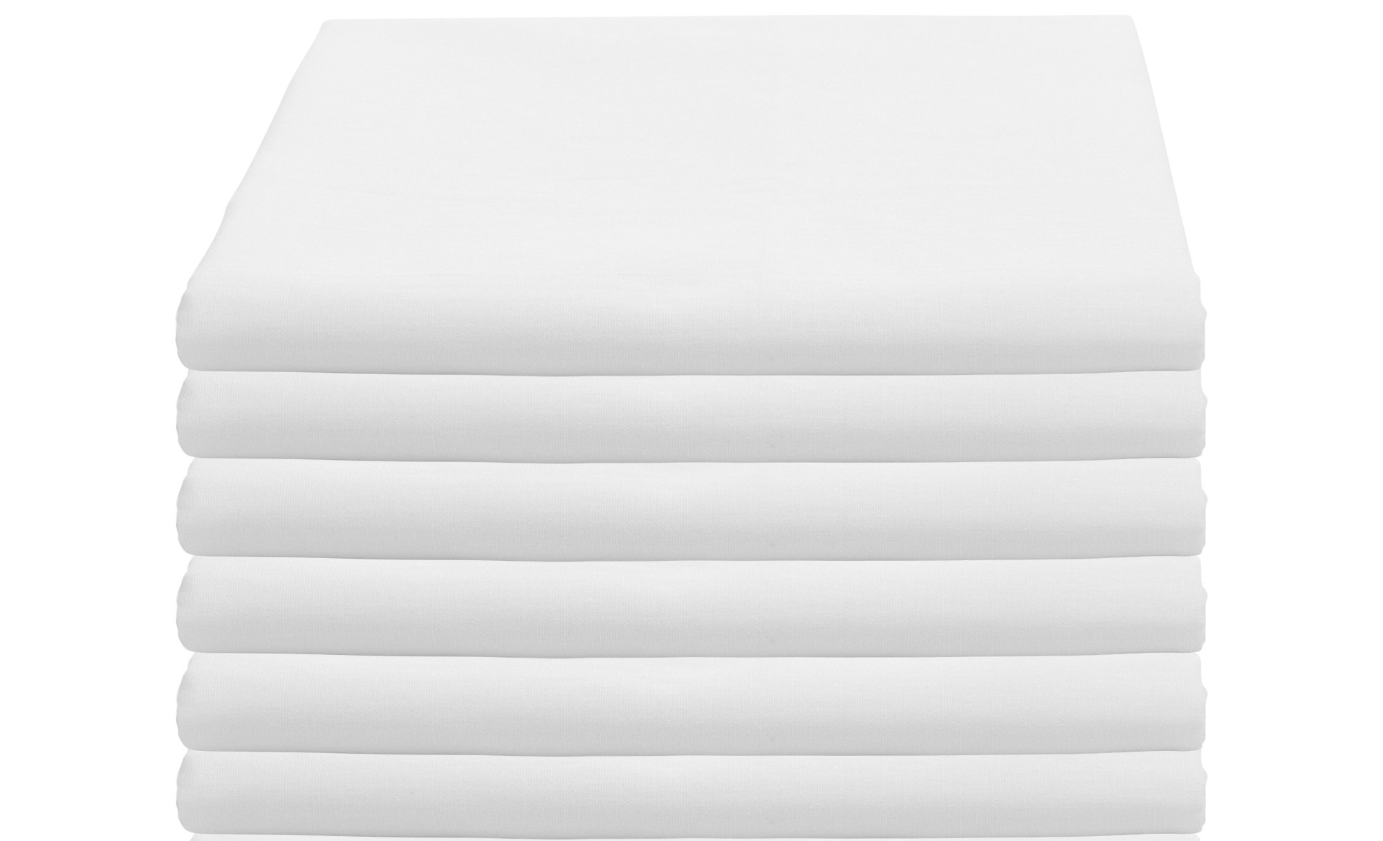 WC WEAVED COLLECTION Twin Size White Flat Sheets 66''x104'' T-180 (6 Pack)