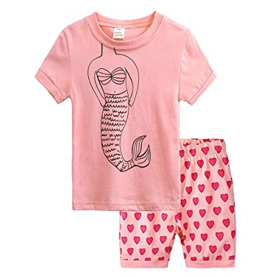 Girls Pajamas Mermaid Shirts + Heart Shorts for 0-7 Years Old Kids Suits: Clothing