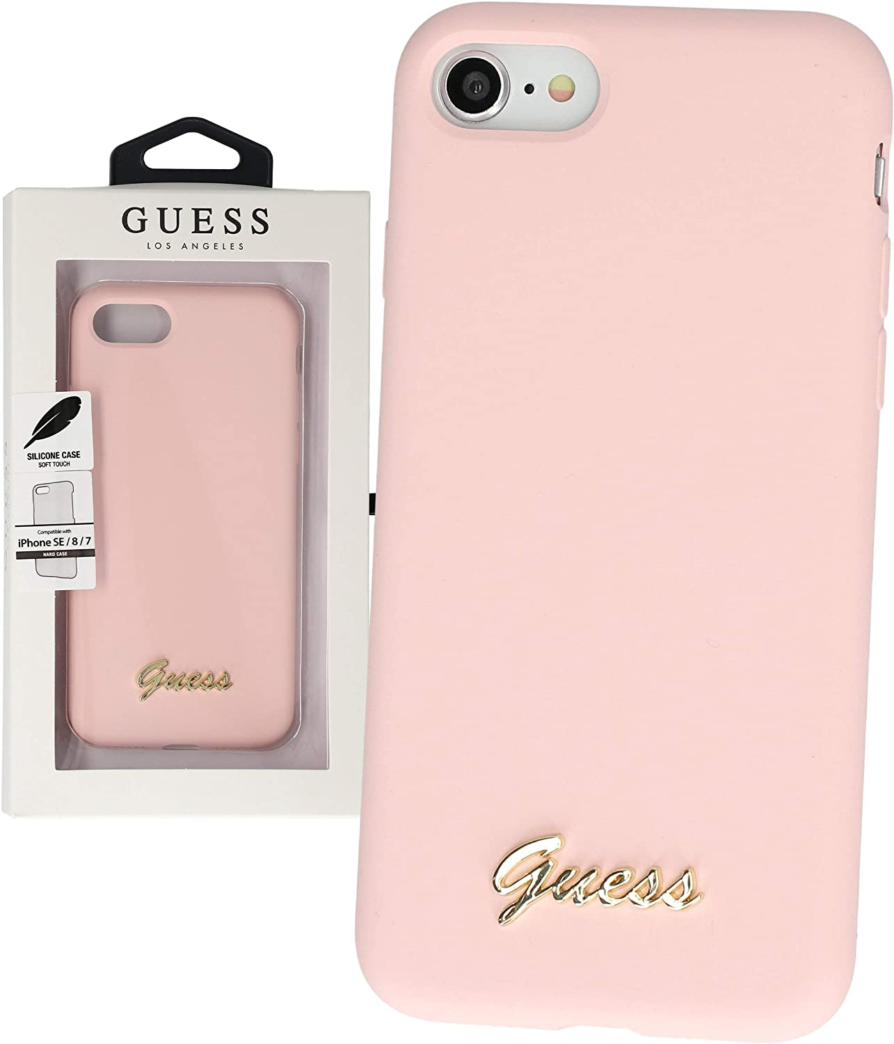 GUESS Liquid Silicone Case Retro for Apple iPhone 7, 8, SE 2020 Light Pink