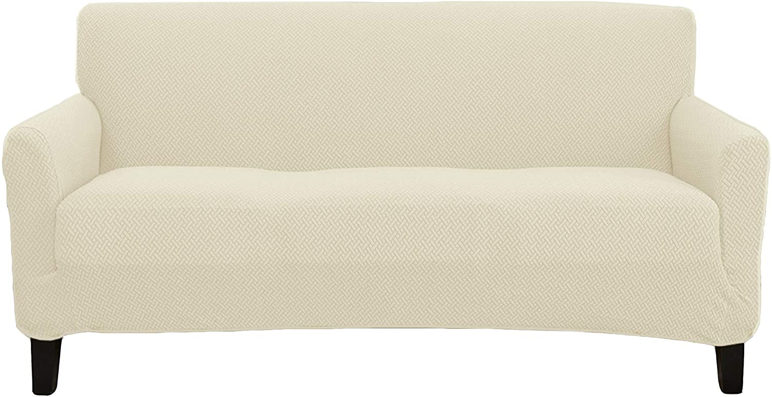 Stretch Sofa Slipcover. Form Fit, Slip Resistant, Strapless Slipcover. Knitted Jacquard Stretch Couch Slipcover. Harlowe Collection (Sofa, Cream)