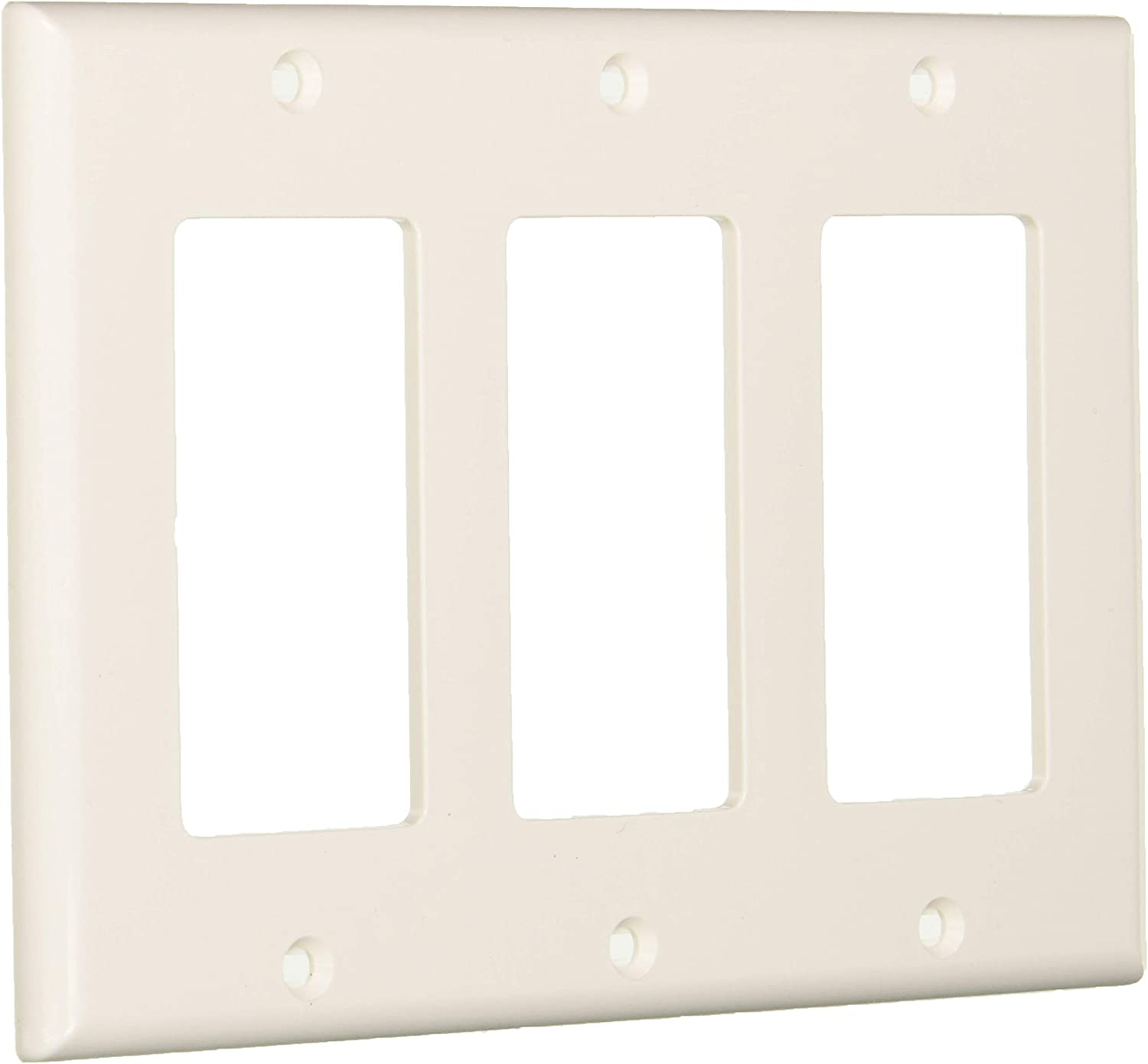 Leviton 80411-NW 3-Gang Decora/GFCI Device Decora Wallplate, Standard Size, Thermoset, Device Mount, White, 10-Pack