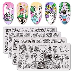 BEAUTYBIGBANG 4Pcs Nail Stamping Plate Easter Theme - Nature Animals Flowrs Rabbit Image Pattern Nail Art Spring Design Template Set BBB-077 078 102 103