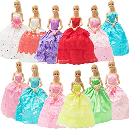 50 Pcs Barbie Doll Clothes Accessories Huge Lot Party Gown Outfits Girl Gift