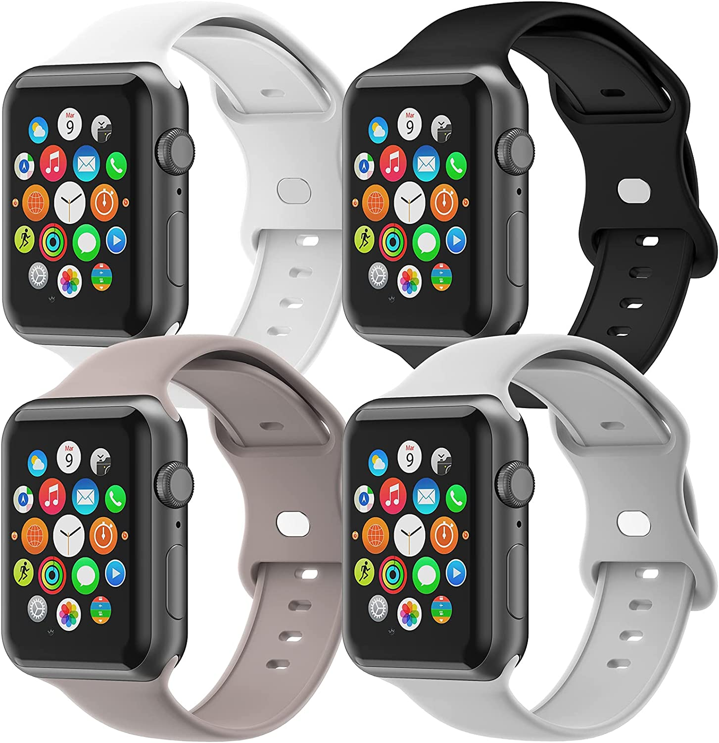 Gleiven Compatible with Apple Watch Bands 38mm 40mm 42mm 44mm for Women Men,Sport Soft Silicone Replacement Wristbands for iWatch Series 6/5/SE/4/3/2/1