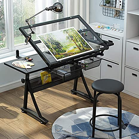 Lgan Tiltable Drawing Table Adjustable Art Desk With Storage Craft Table Drafting Table Glass Panel Child Adult Drawing Desk Home Kitchen