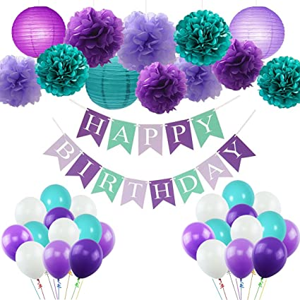 amazon com mermaid party decorations happy birthday banner design
