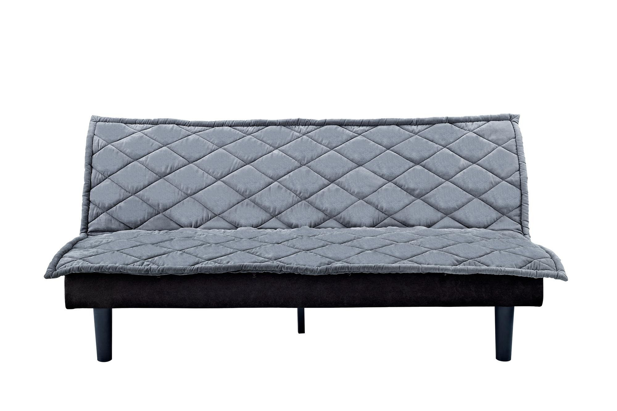 DHP Lancaster Futon Couch with Tufted Upholstered Diamond Design - Silvery Grey by DHP