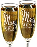 Custom Mr and Mrs Wedding Champagne Glass Personalized with Last Name and Date for Newly Married, Anniverssary Favor, Couples Gift