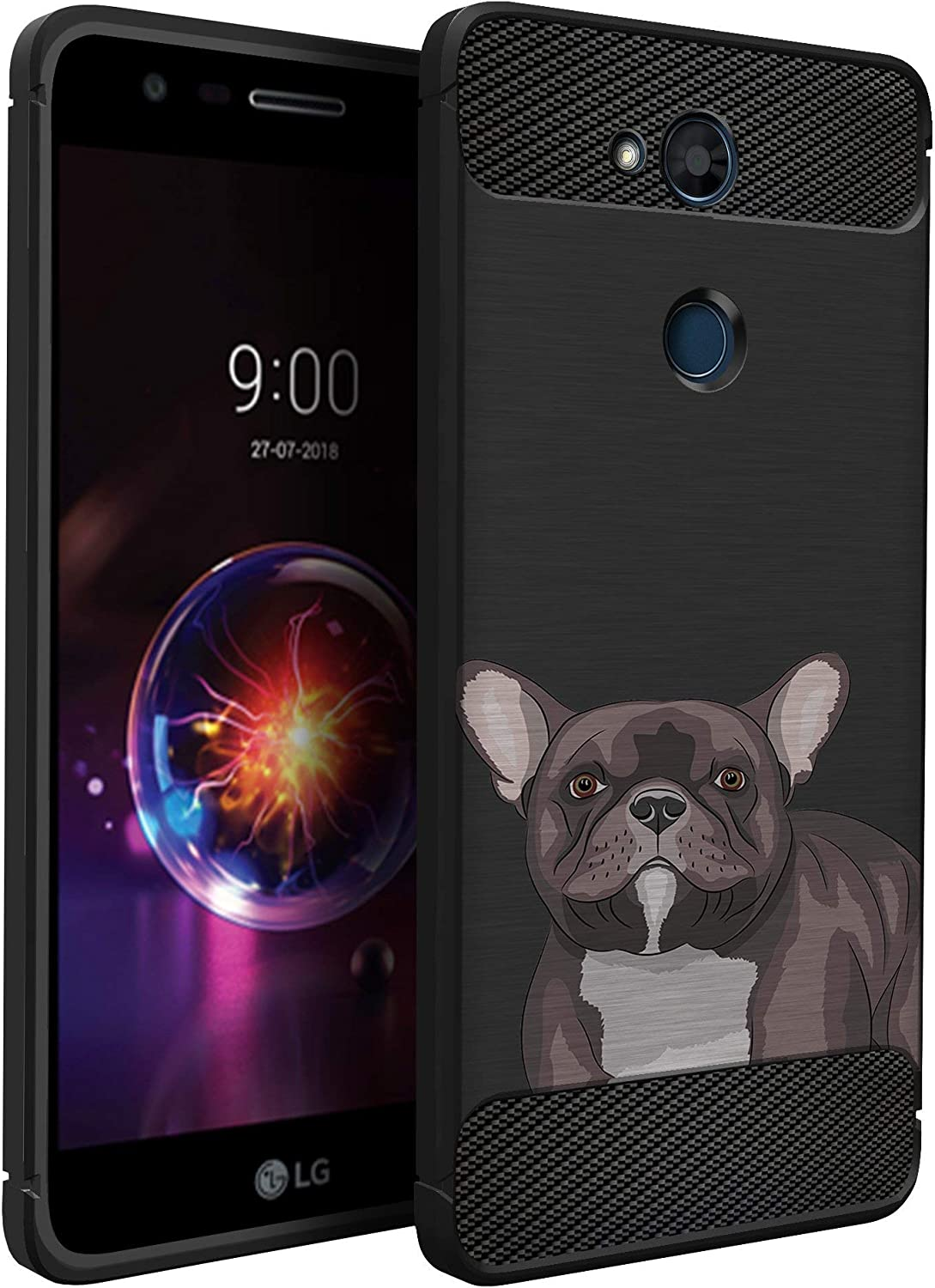 CasesOnDeck Dog Design Case Compatible with LG X Power 3/ LG X Charge 2/ X Power 2/ LG Fiesta 2 LTE/LG X5 (2018) - Slim TPU Flexible Matte Carbon Fiber Texture Cover (Boston Terrier)