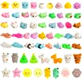 Kizcity 60 Pcs Mochi Squishies, Kawaii Squishy Toys for Party Favors, Animal Squishies Stress Relief Toys for Boys & Girls Bi