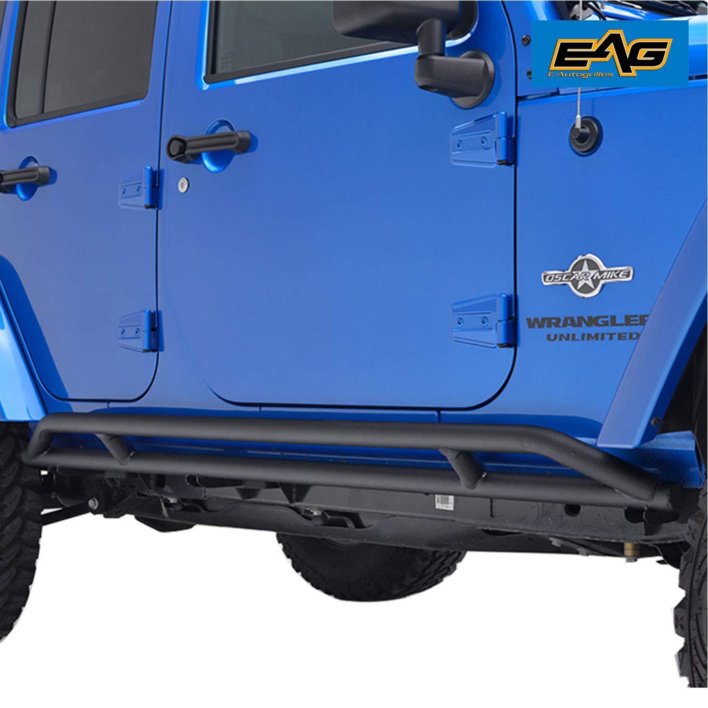 EAG 4 Door Side Armor Rocker Guard Rock Slider Black Pair for 07-18 Jeep Wrangler JK