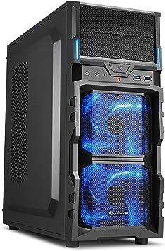 """Sharkoon VG5-V - Caja de Ordenador Gaming (semitorre ATX, iluminación Azul, Incluye 2 Ventiladores LED, 2 bahías de 5,25""""), Negro"""