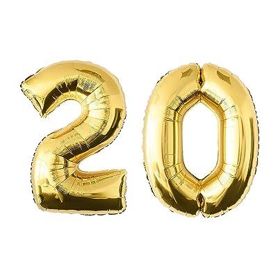 NUOLUX Nombre 20 Anniversaire Balloon Party Décorations Anniversaire Jumbo Foil Balloons Party Supplies