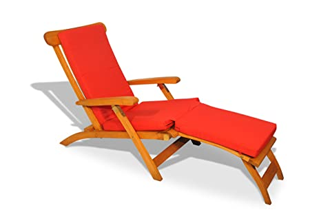 Teak Steamer Chair With Cushion (Canvas Jockey Red)