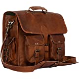 Leather Briefcase Laptop Bag Messenger Satchel 16 Inch Best Handmade Leather Bag by Komal's Passion leatherSALE, Brown, Large