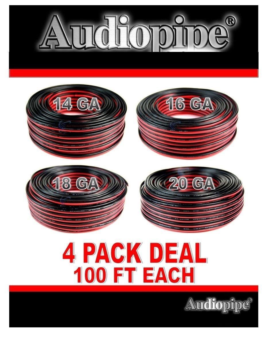 4 Pack 100 feet each 14, 16, 18, 20 gauge Red Black Stranded Speaker Wire Zip