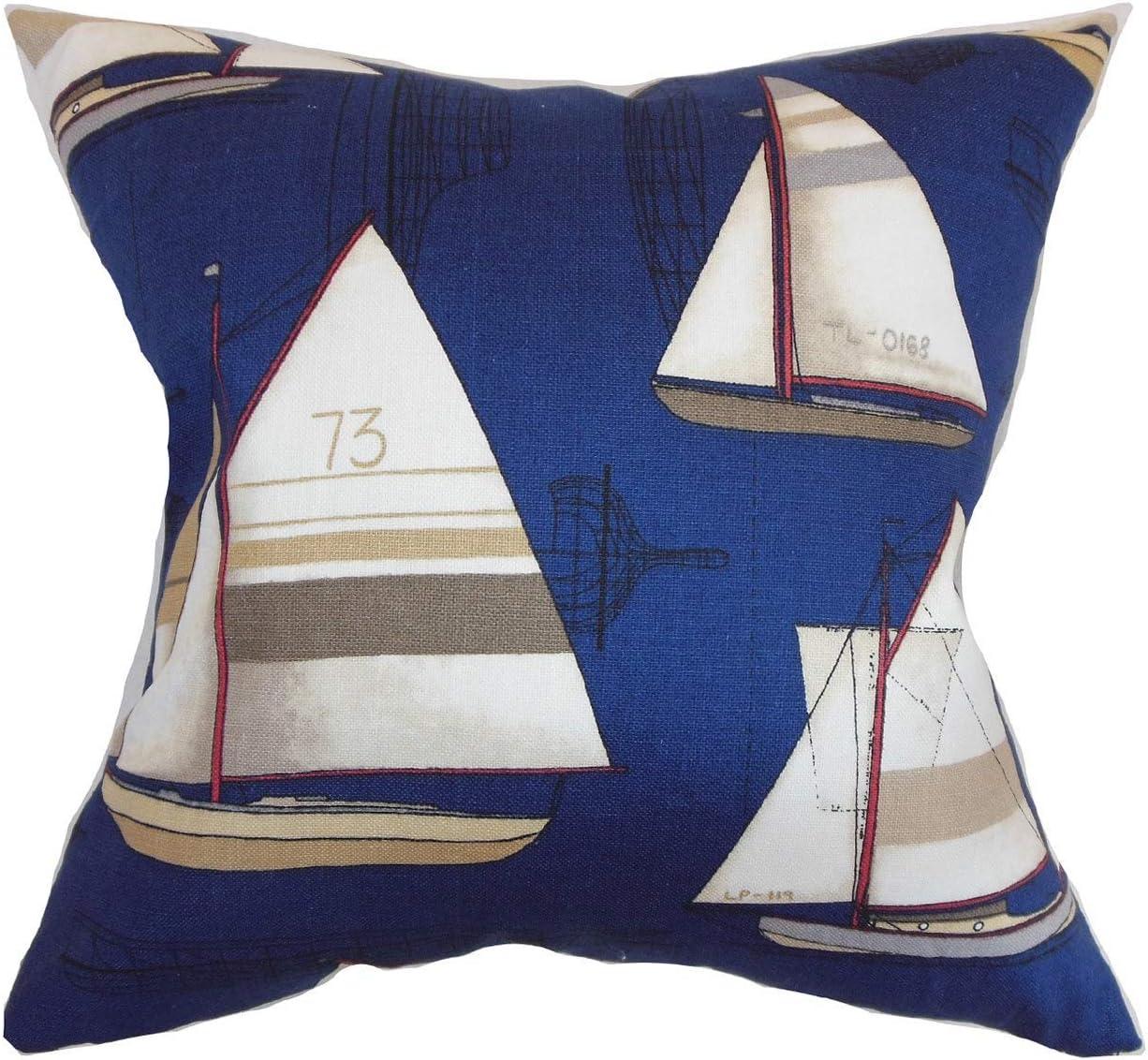 Amazon Com The Pillow Collection Hemavan Nautical Regatta Down Filled Throw Pillow Home Kitchen