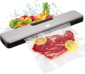 2021 UPGRADED Vacuum Sealer Machine Automatic Food Sealing Led Indicator Lights Large Seal Size Dry & Moist Modes Silver
