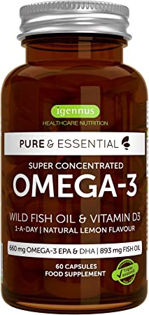 Pure & Essential Aceite de Pescado Salvaje Omega-3 410 mg EPA y 250 mg DHA por cápsula y Vitamina D3, sabor a limón, 6 x 60 cápsulas: Amazon.es: Salud y cuidado personal