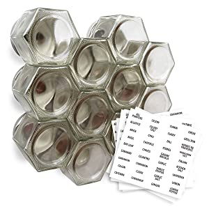 Gneiss Spice Large Empty Magnetic Spice Jars | Create a DIY Hanging Spice Rack on Your Fridge | Includes Hexagon Glass Jars, Magnetic Lids + Spice Labels (12 Large Jars, Silver Lids)
